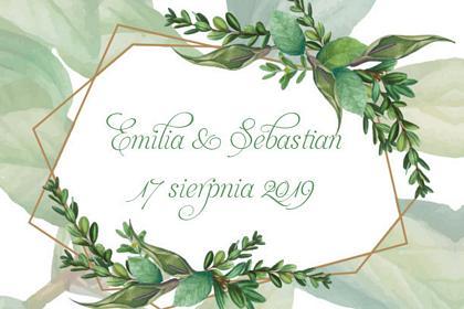fotobudka na weselu emilli i sebastiana, pastelowy wydruk, liście
